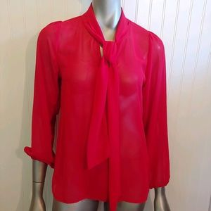 Everly Sheer Tie Front Red Blouse - S - B23
